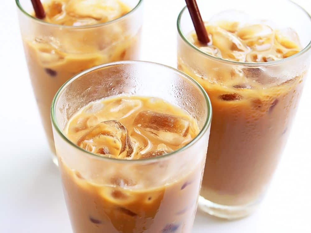 homemade iced vanilla latte