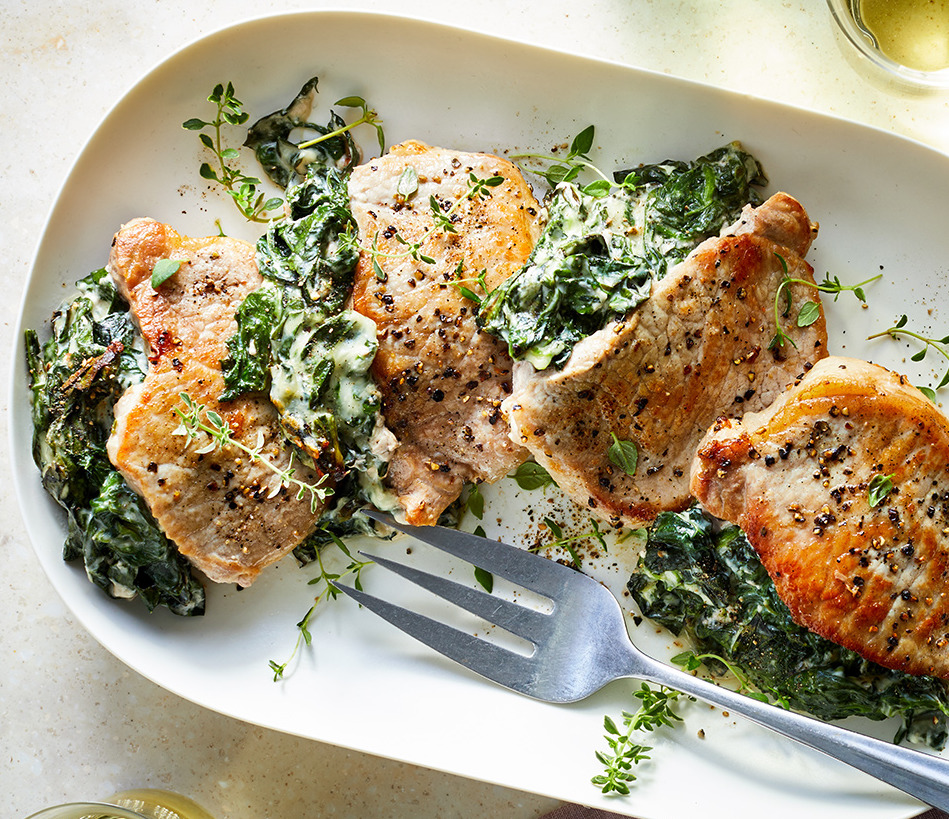 spinach and cream cheese stuffed pork chops
