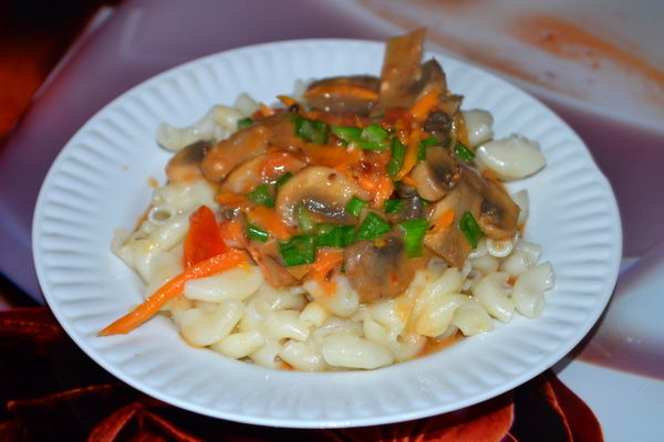 Mushroom sauce of dried mushrooms with vegetables and sour cream